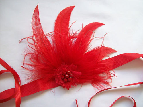 Red Mary Ostrich Feather Vintage Style Flapper Band