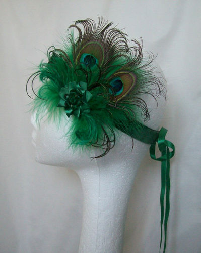 Emerald Green Victoriana Peacock Feather Vintage Style Flapper Band