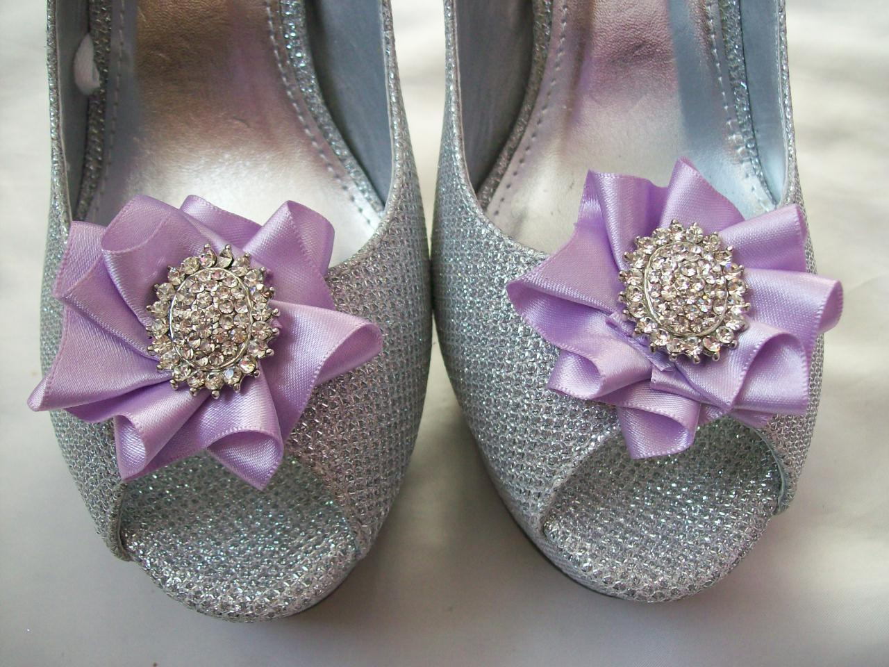 Navy And Lilac Wedding Shoe Clips