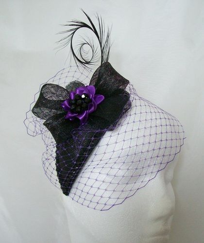 Purple and Black Endora Teardrop Crystal Studded Vintage Gothic Percher Fascinator