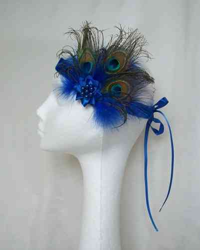 Royal Blue Victoriana Peacock Flapper Band