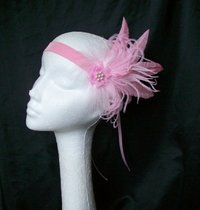 Pale Pink Mary Ostrich Feather Vintage Style Flapper Band
