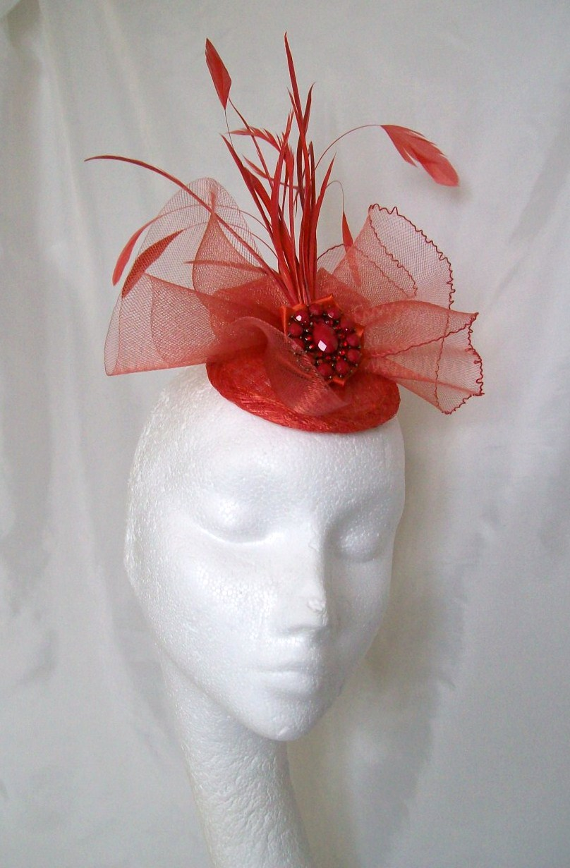 Burnt Orange And Red Vintage Style Crinoline Bow Feather