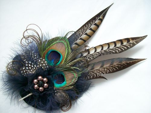 Navy Blue & Mink Minerva Rustic Style Minerva Pheasant and Peacock Feather Fascinator