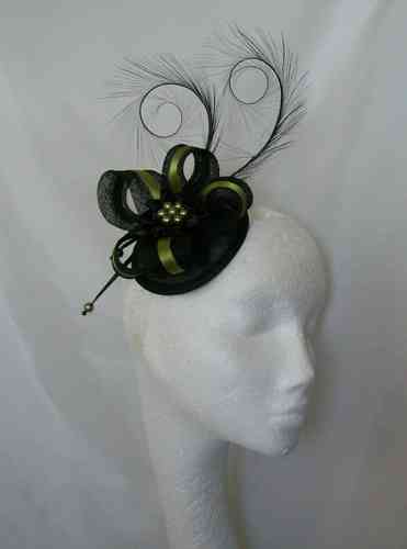 Olive Green and Black Isabel Curl Feather and Sinamay Ribbon Fascinator