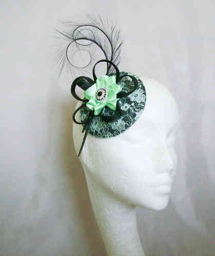 Black and Mint Green Lace Isadora Vintage Style Fascinator
