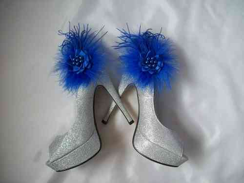 Royal Blue Feather Shoe Clips
