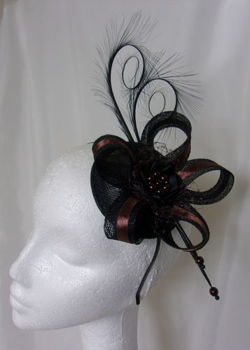 Black and Chocolate Brown Isabel Curl Feather and Sinamay Fascinator Hat