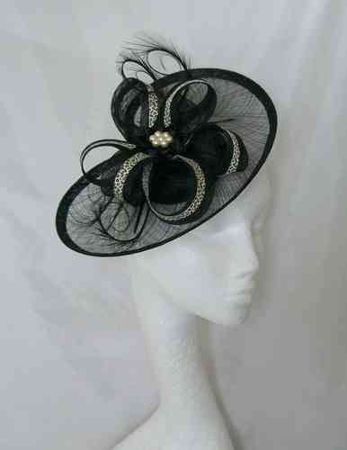 Black and Leopard Print Eliza Curl Feather and Sinamay Loop Ribbon Detail Fascinator