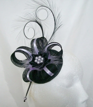 Black and Lilac Isabel Curl Feather and Sinamay Ribbon Fascinator