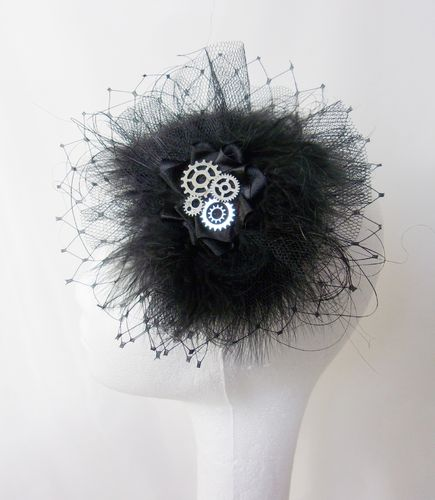 Black & Silver Steampunk Feather and Veiling Fascinator Hair Clip Headpiece