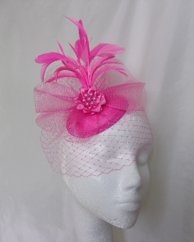 Hot Fuchsia Pink Emily Feather Plume Veil and Crinoline Fascinator