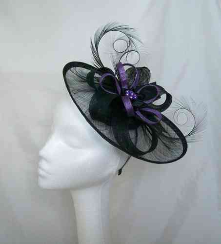 Black and  Dark Lilac Cecily Saucer Style Feather and Sinamay Loop Fascinator Hat