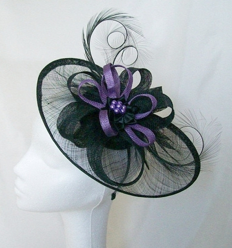 Black Sinamay Saucer Curl Feather and Dark Lilac Loop   Pearl Cecily ... a99016b19e2