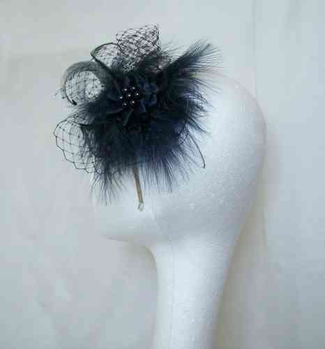 Navy Blue Betsy Feather & Net Vintage Style Fascinator