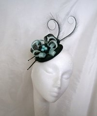 Aqua and Black Delilah Curl Feather and Sinamay Fascinator