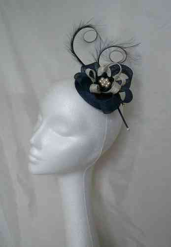 Navy Blue & Ivory Delilah Curl Feather & Sinamay Fascinator