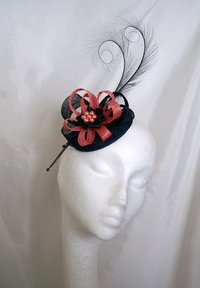 Navy Blue & Coral Delilah Curl Feather & Sinamay Fascinator
