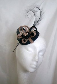 Navy Blue & Latte Delilah Curl Feather & Sinamay Fascinator