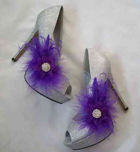 Purple Feather Shoe Clips