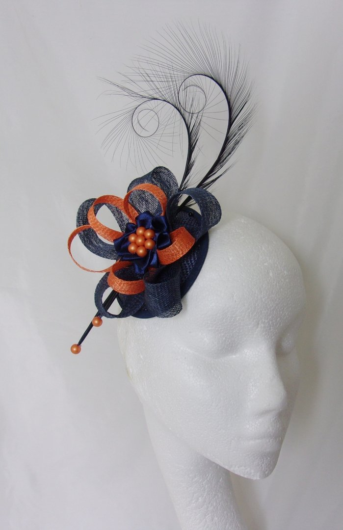 Navy Blue Amp Orange Pheasant Curl Feather And Sinamay