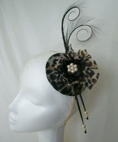 Leopard Print Diana Vintage Style Curl Feather and Pearl Fascinator