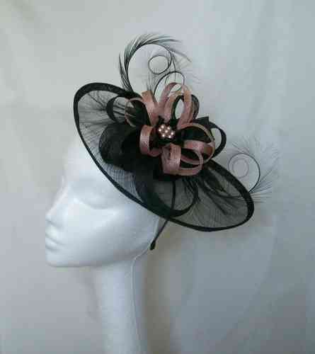 Black and Latte Cecily Saucer Style Feather and Sinamay Loop Fascinator Hat