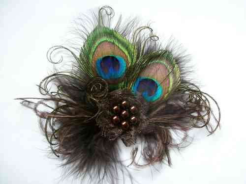 Chocolate Brown Little Gem Peacock Feather Hair Clip
