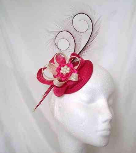 Cerise Pink and Ivory or  Winter White Delilah  Curl Feather and Sinamay Loop Fascinator