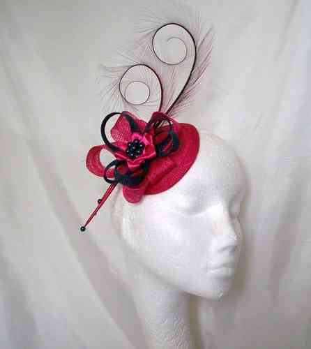Cerise Pink and French Navy Blue Delilah  Curl Feather and Sinamay Loop Fascinator