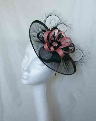 Black and Dusky Rose Pink Cecily Saucer Style Feather and Sinamay Loop Fascinator Hat