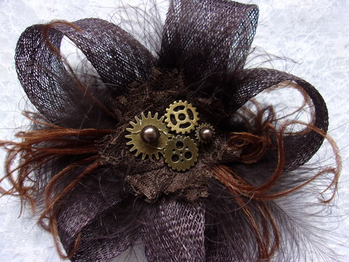 Brown Bronze Sinamay Loop Feather and Steampunk Watch Cog Mini Fascinator Hair Clip