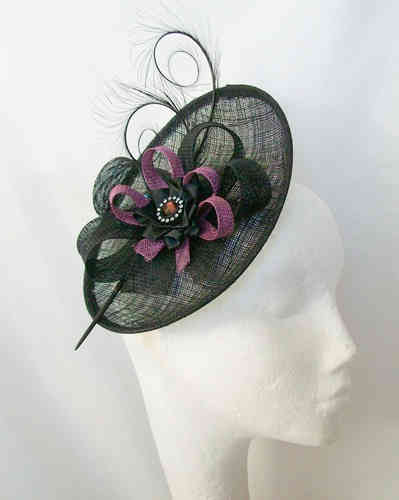 Black and Amethyst Plum Pandora Upback Curl Feather Fascinator Hat