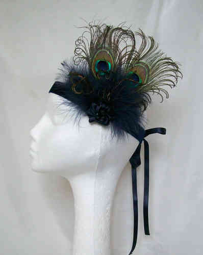 Navy Blue Victoriana Peacock Flapper Band