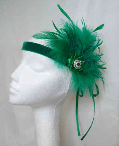 Emerald Green Anna Mixed Feather Vintage Style Flapper Band