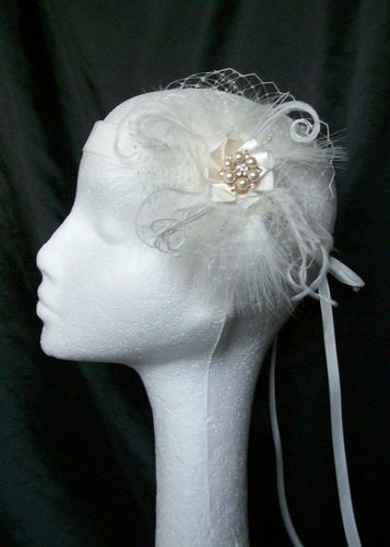 Ivory Edith Feather and Net Vintage Style Flapper Band