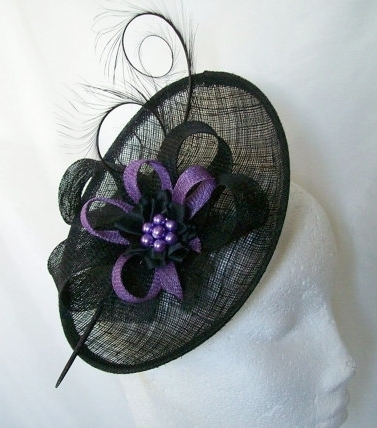 Black and Dark Lilac Pandora Upback Curl Feather Fascinator Hat