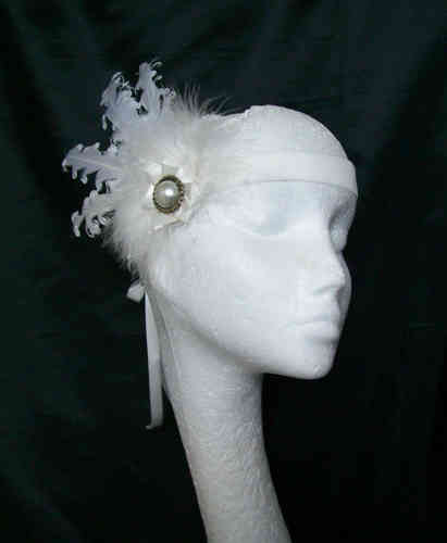 Ivory Cora Curl Feather Vintage Style Flapper Band