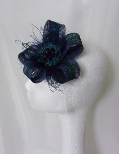 Navy Blue Mia Tartan Sinamay Loop Fascinator