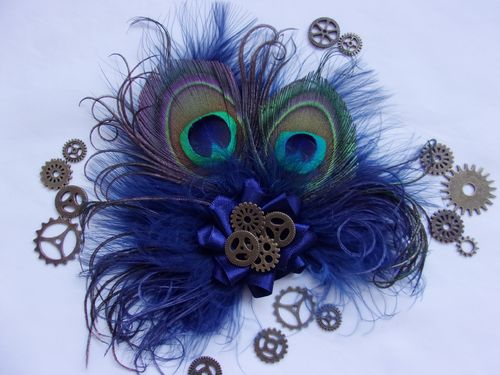 Navy Blue Steampunk Peacock Feather Clip