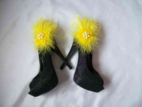 Yellow Feather Shoe Clips