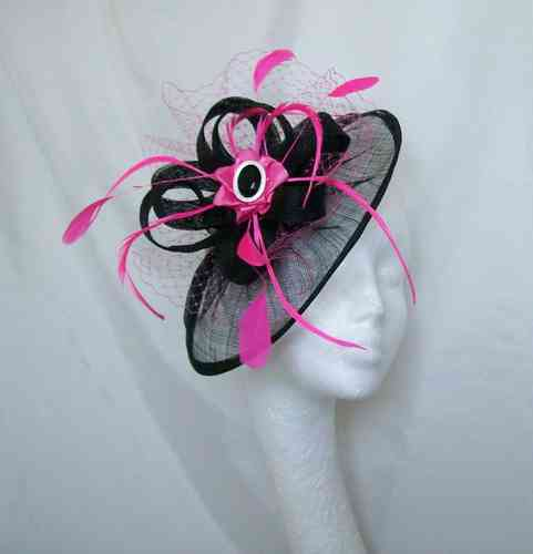 Black and Fuchsia Hot Pink Aurora Saucer Veil and Feathered Fascinator Hat