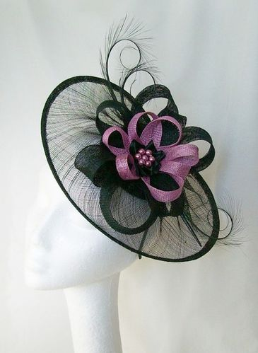Black and Radiant Orchid Lavender Cecily Saucer Style Feather and Sinamay Loop Fascinator Hat