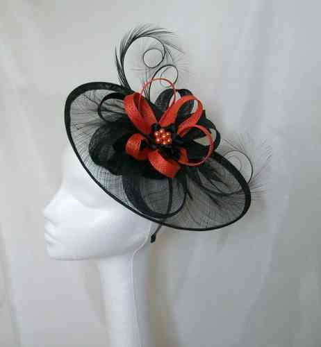 Black and Orange Cecily Saucer Style Feather and Sinamay Loop Fascinator Hat