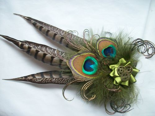Olive Green and Brown Steampunk Fascinator- Rustic Pheasant and Peacock Feather with Cogs