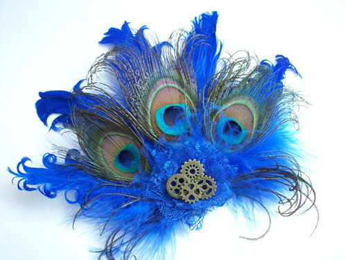 Royal Cobalt Blue Steampunk Daphne Peacock Feather and Cogs Hair Clip Fascinator