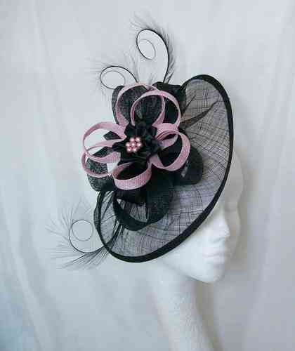 Black and Pale Candy Pink Cecily Saucer Style Feather and Sinamay Loop Fascinator Hat