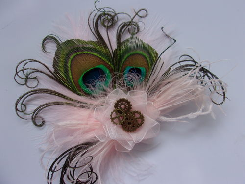 Pale Blush Baby Pink Peacock Feather & Brass Steampunk Hair Clip