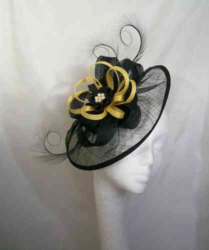 Black and Yellow Cecily Saucer Style Feather and Sinamay Loop Fascinator Hat