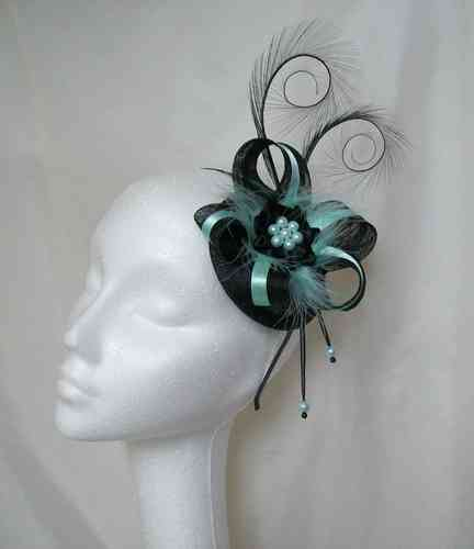 Aqua and Black Isabel Curl Feather Satin Highlight Fascinator